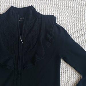 NANETTE LEPORE Black Ruffle Full Zip Wool Sweater